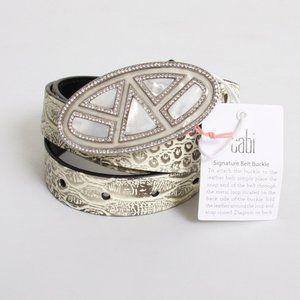NWT Cabi Python Snake Leather Crystal Pearl Belt M